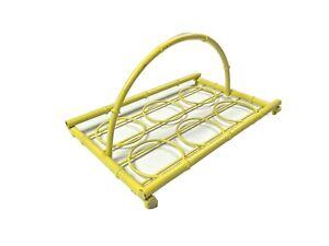 Vintage-MCM-Metal-Bamboo-Style-Drink-Tray-Server-Platter-Retro-Rare-Yellow-Decor