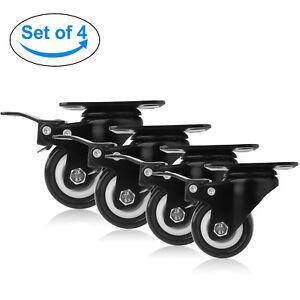 4 x 50mm lenkrollen transportrollen m belrollen schwenkrollen mit bremse 50kg r ebay. Black Bedroom Furniture Sets. Home Design Ideas