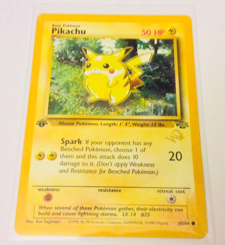 1st Edition Pokémon Jungle Pikachu w w w  gold Foil W Logo duelist mint  d07afb