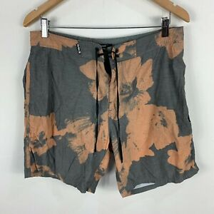 Hurley-Mens-Board-Shorts-32-Black-Brown-Floral-Drawstring