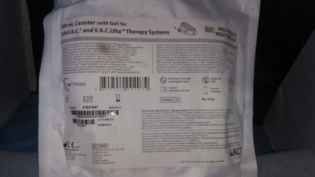 KCI M8275063 500 mL Canister W Gel for Info V.A.C