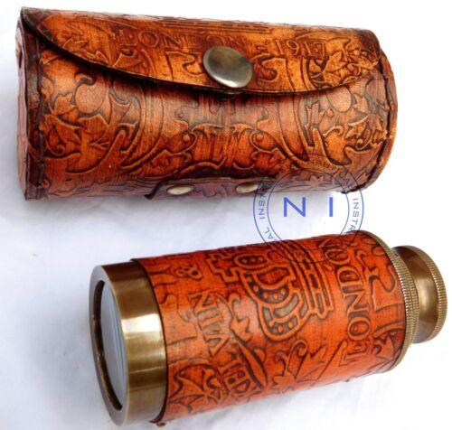 Vintage Antique 6/'/' Leather Case Brass Telescope Nautical Pirate Spyglass Scope
