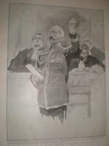 France-2nd-court-martial-of-Captain-Dreyfus-swearing-innocence-1899-print-ref-G