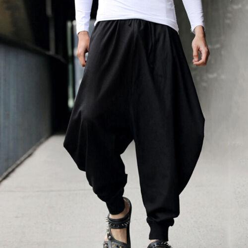 Mens Casual Cotton Linen Harem Pants Hip Hop Loose Wide Leg Baggy Trousers