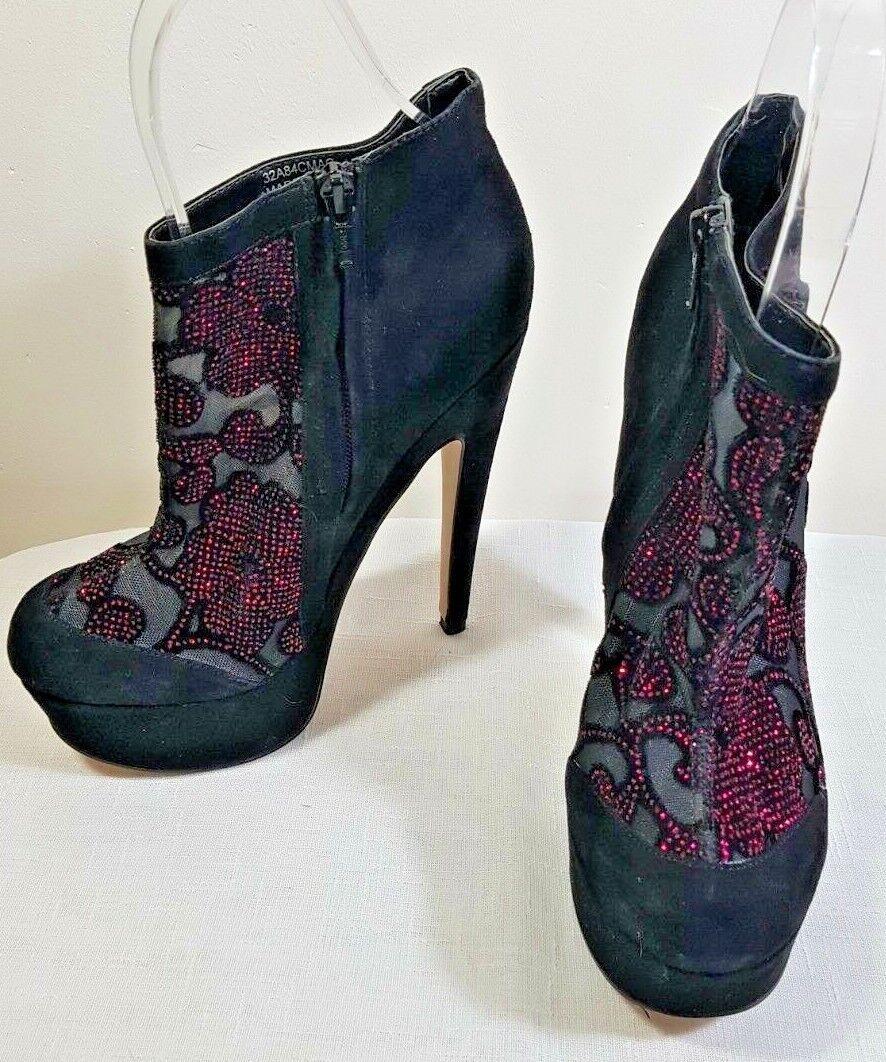 TopShop Aurora Black Suede Mesh Sparkle Platform Stiletto Ankle Boot UK5 38