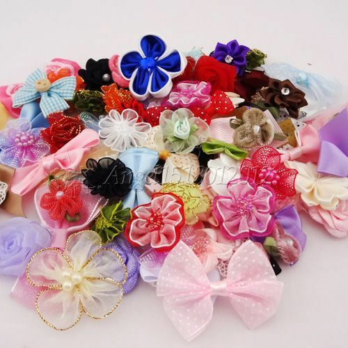 50pcs Ribbon bow flowers appliquest craft lots mix Free Shipping A087
