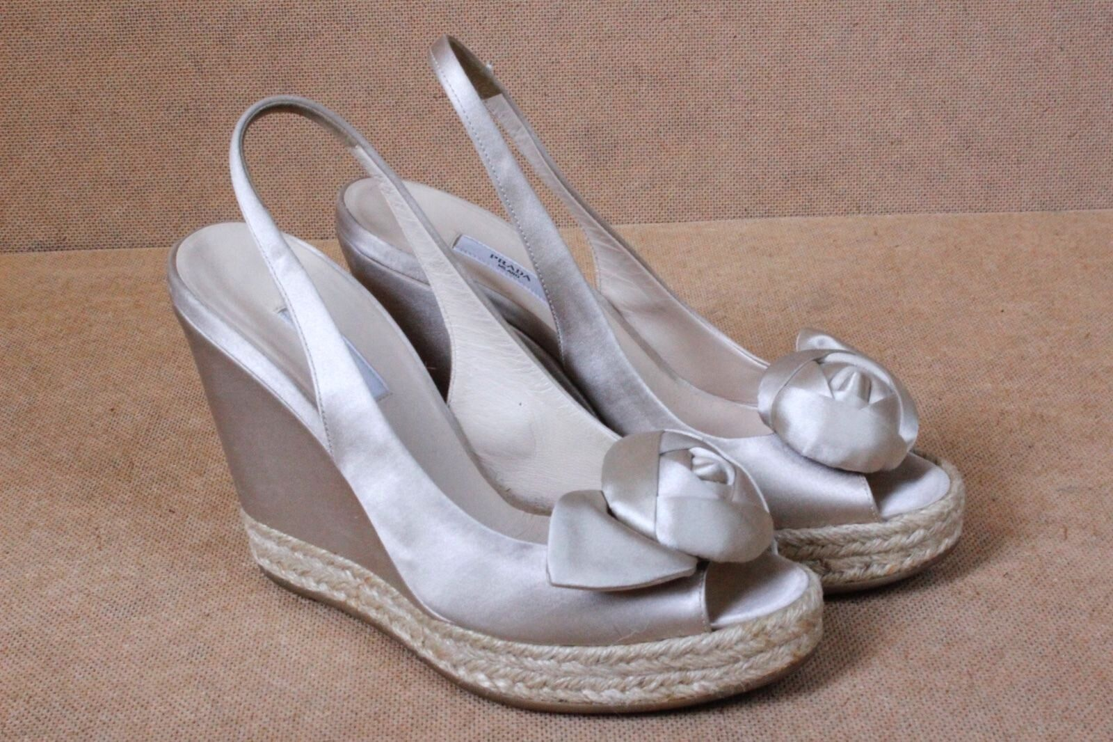 Prada Prada Prada cream satin wedges heels with flower 35.5 Uk 3.5 27c36e