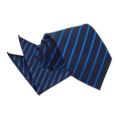 DQT Blue Mens Tie /& Hanky Set Plain Patterned Floral Spotted FREE Pocket Square