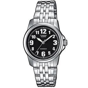 Casio-Uhr-LTP-1260PD-1B-Damen-Armbanduhr-Edelstahl-Silber-Schwarz-NEU-amp-OVP