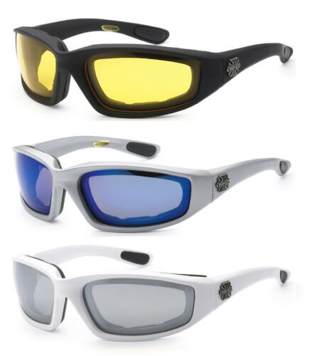 3 PAIRS Choppers 901 Padded Foam Sunglasses Motorcycle Riding Glasses COMBO