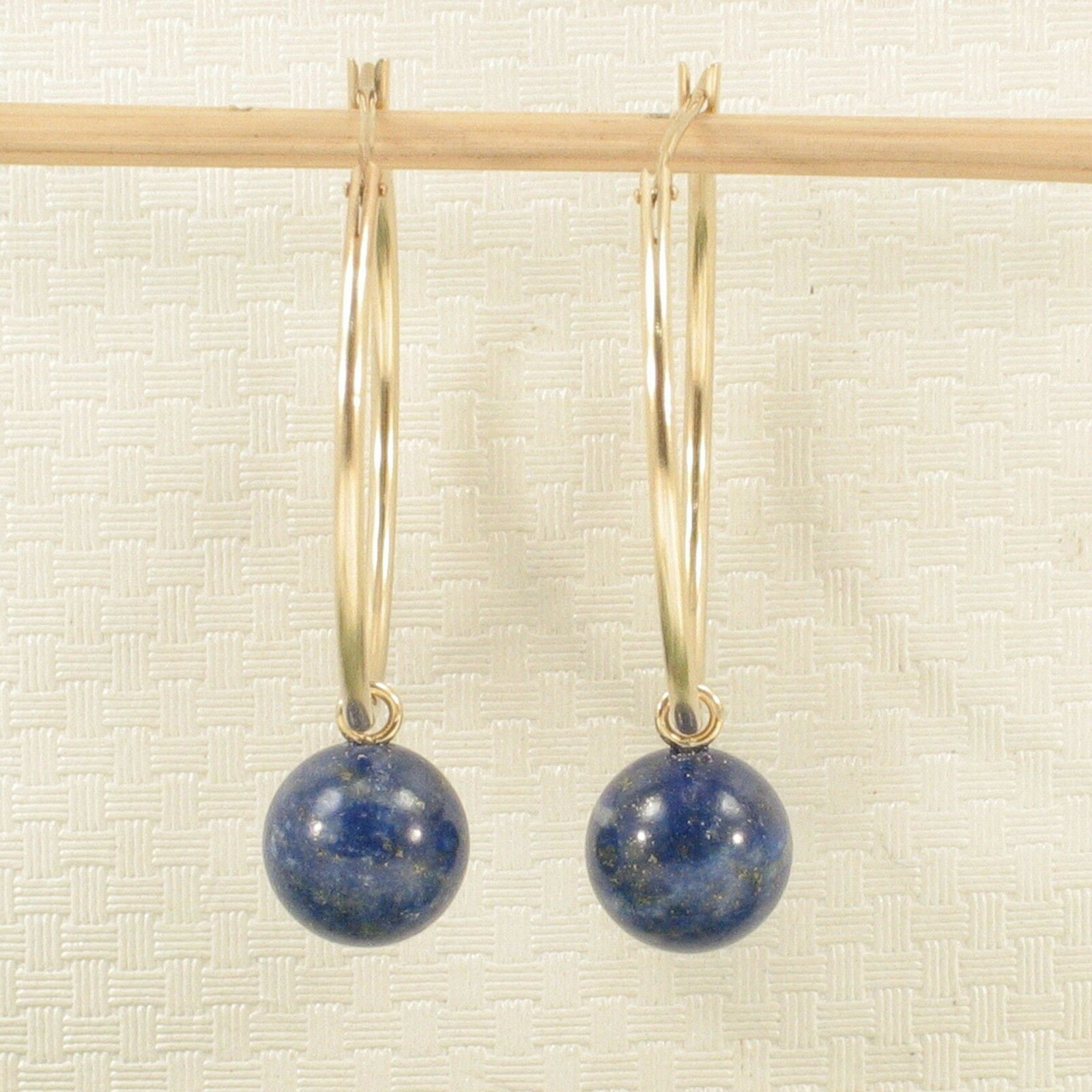 14k Yellow gold 25 X 1.25mm Hoop 8-8.5mm bluee Lapis Lbluei Dangle Earrings TPJ