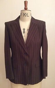Marks-and-Spencer-Brown-and-Pale-Pink-Pinstripe-Jacket-Size-12-Petite-BNWT