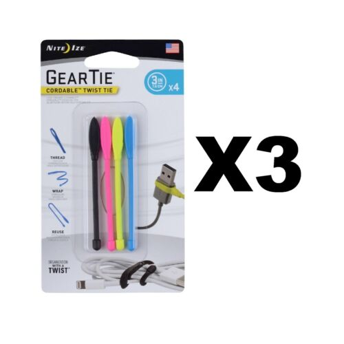 """3-Pack of 4 Nite Ize Gear Tie Cordable Twist Tie 3/"""" Assorted Cord Organizers"""