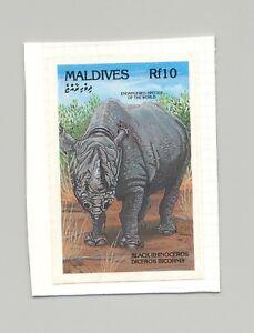 Maldives-1864-Rhinoceros-Animals-1v-Imperf-Proof-on-Card