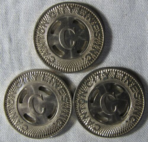 3 UNCIRCULATED Canton Ohio Transit Tokens BIG LETTER C IN CENTER whotoldya
