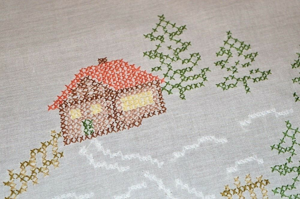 COZY CHRISTMAS CABIN IN WINTER SNOW  VINTAGE GERhomme HAND EMBROIDErouge TABLECLOTH