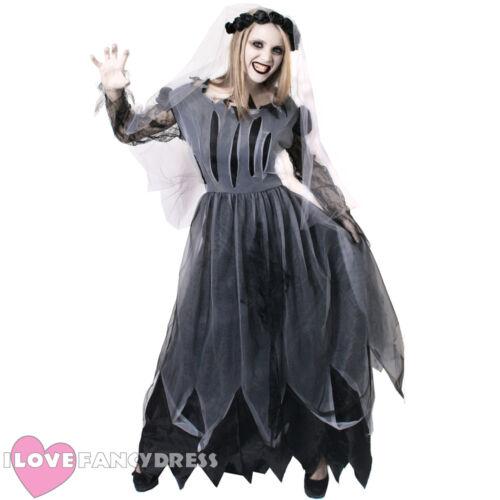 LADIES GHOST BRIDE COSTUME RIPPED HALLOWEEN FANCY DRESS AND VEIL DEAD WEDDING