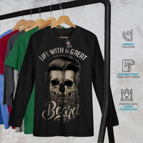 Life With Beard Skull Men Long Sleeve T-shirt NEWWellcoda