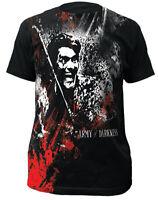 Army Of Darkness Blood & Smoke Big Print Subway Adult T-shirt - Movie Horror Tee