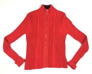61b5ffac58 6201) Tommy Hilfiger M Women s Red Mock Neck Full Zip Knit Sweater ...