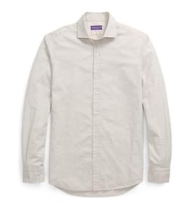 Ralph Lauren Purple Label Solid Grey Flannel Casual Button Dress Sport Shirt New