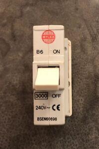 WYLEX ABB 16A PLUG IN MCB WITH BASE B16 AMP 3kA PUSH CIRCUIT BREAKER TESTED