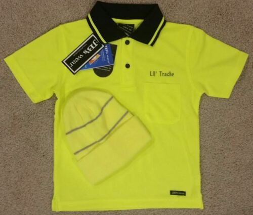 Lil' Tradie KIDS SAFETY HI VIS POLO SHIRT with BEANIE ALL SIZES 0214
