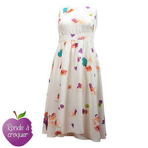 Grande Taille Robe Blanche D Ete Imprimee Grandes Fleurs 44 46 48 50 52 54 56 Ebay
