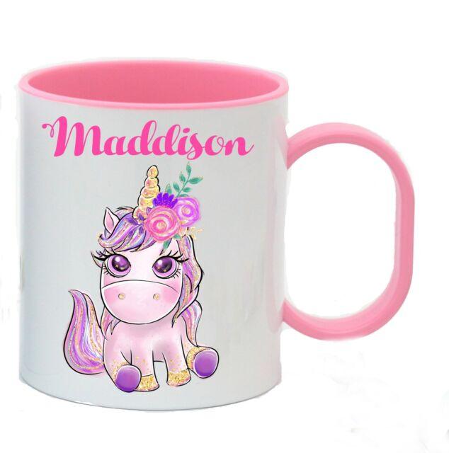 Personalised Unicorn Cup Kids Children Girl Plastic Mug Birthday Christmas Gift