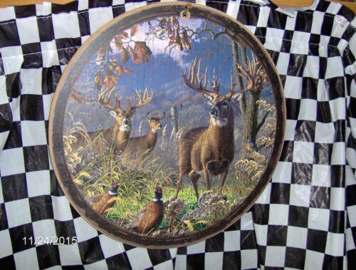 """Deer//oiseaux 10/"""" x 10/"""" Rond en Bois Signe"""