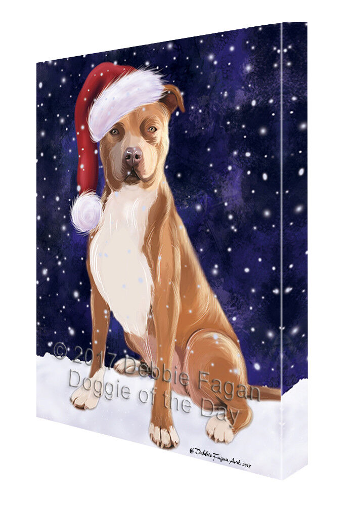 Let it Snow Christmas Holiday Pit Bull Dog Canvas Wall Art T244