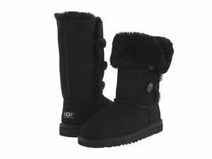 6631a9498f1 Details about UGG AUSTRALIA GIRLS KIDS YOUTH BAILEY BUTTON TRIPLET BOOTS  BLACK SIZE 4 NEW