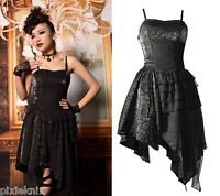 Pentagramme Black Gothic Dress with Asymmetric Hem R060050