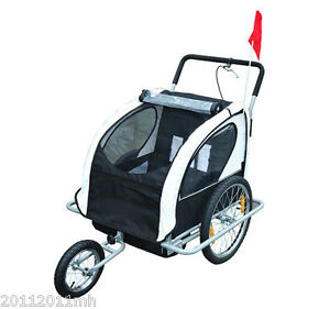 2-IN-1 Baby Bike Trailer Large Bicycle Stroller w/ Canopy Drawbar ...