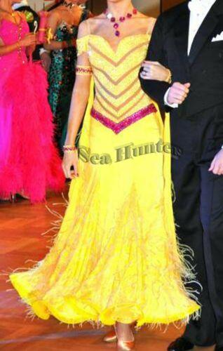 Bd3239 feather Ballroom Standard swing Waltz Quickstep US 8 Dance Dress yellow