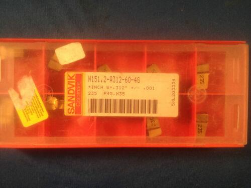 NIB Sandvik Coromant T-Max Q-Cut Insert N151.2-A312-60-4G XL Grade 235 10-Pack