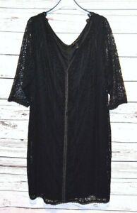 New-NWT-Lane-Bryant-Isabel-Toledo-Elegant-3-4-Sleeve-Black-Long-Lace-Dress-24