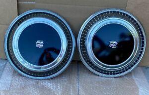 1976 1977 1978 Cadillac Eldorado Hubcap Black Set of 2 Good Shape Vibrant Colors