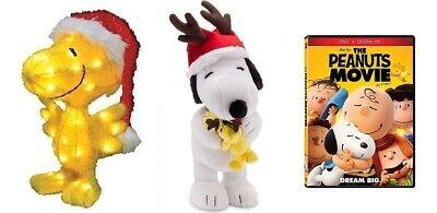 """Peanuts Snoopy Reindeer Antlers Woodstock Room Door Greeter 25"""" plush Christmas"""