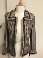 80%off Sample Ming Wang Design Toula Knit Jacket Sweater Cardigan Coffee Sz6