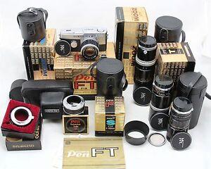 vintage analog camera olympus pen f pen ft 4x zuiko lens f e 90