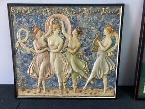European-Folk-Art-Sculptured-alabaster-relief-wall-hanging-of-musical-ladies