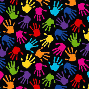 Caring hands hand print kids fleece fabric print by the for Fleece fabric childrens prints