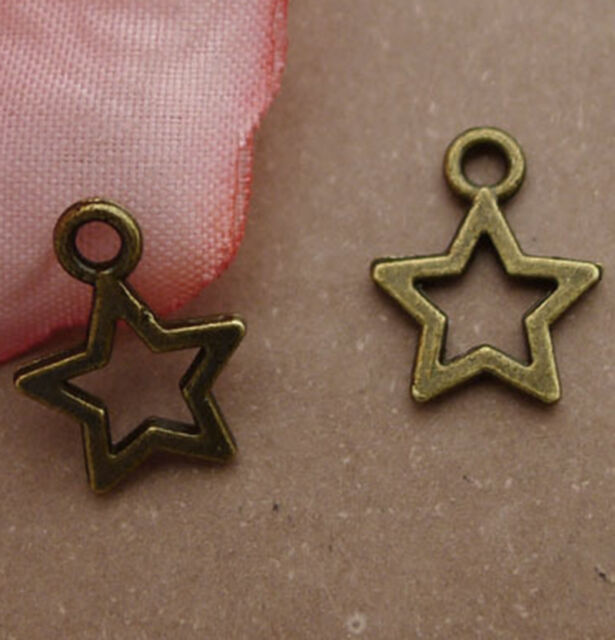 30pc Five-Pointed Star Pendant Charms Dangle Accessories Jewellery Making S393T
