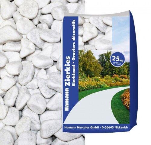 Hamann Marmorkies Carrara Weiss 15-25 mm 25 kg Sack Zierkies Kiesel 0,28€//1kg
