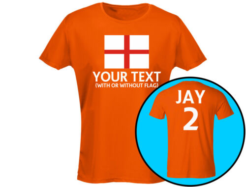 12 Colours England Your Text Womens Football Rugby T-Shirt