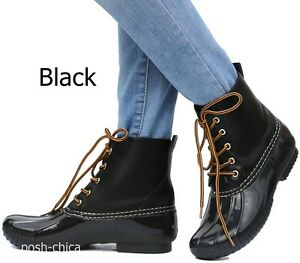 New Women AHk Black Brown Ankle Snow Lace Up Booties Duck Boots size 5.5 to 10
