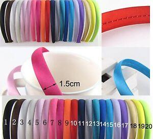 Satin-Haarreif-15-mm-Haarreifen-Unifarben-Haarschmuck-Kopfschmuck-viele-Farben