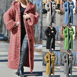 Women-Long-Sleeve-Knitted-Cardigan-Hooded-Sweatshirt-Jumper-Jacket-Coat-Longline