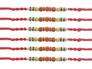 Details about 6 x Rakhi Thread Bracelet Triple Rudraksha Bead Raksha  Bandhan Rakhi Wrist Band
